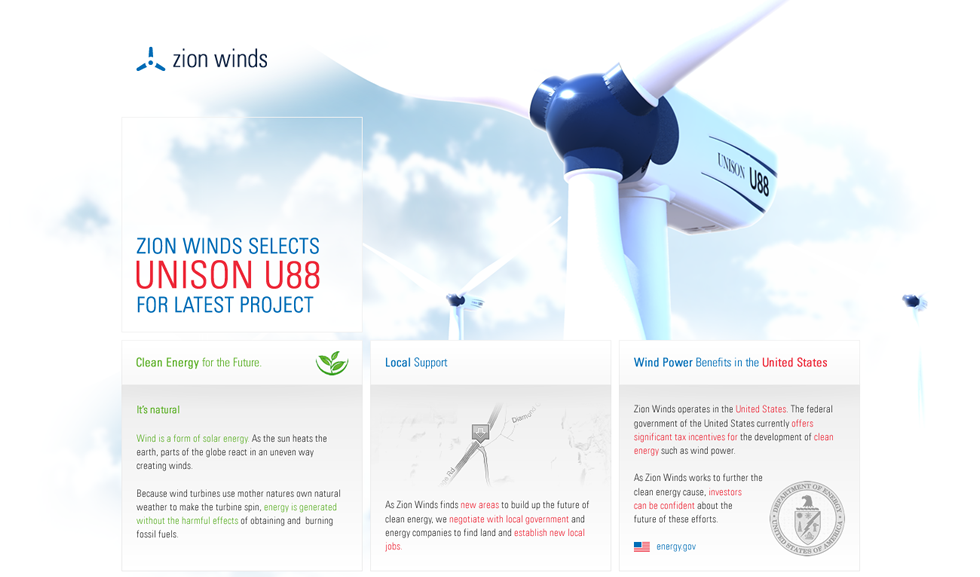 Zion Winds Microsite Design